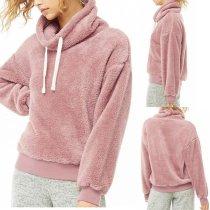 Polar Fleece Plain Long Sleeve Fashion Sweatshirts