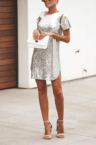 Casual Sequins Bare Back Short Sleeve Mini Dresses