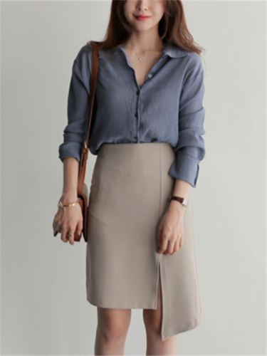 Fashion pure color small lapel casual shirt