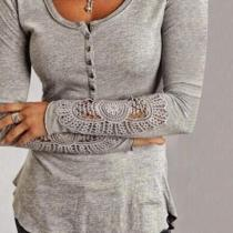 Round Neck Lace Patchwork Long Sleeve Button T-Shirts