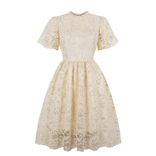 Lace Short Sleeve Casual Skater Dress
