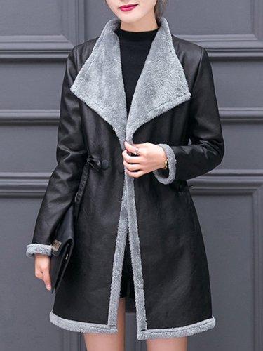 Lapel Drawstring Pocket PU Leather Coat