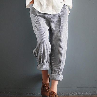 Stripe Cotton Harem Wide Leg Pocket Women's Pants