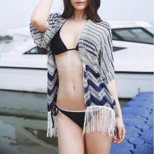 Striped Pattern Bikini Blouse Cardigan