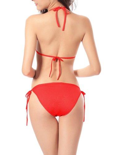 Halter  Drawstring  Plain Bikini