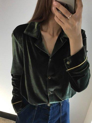 Turn Down Collar  Plain Shirts&Blouses