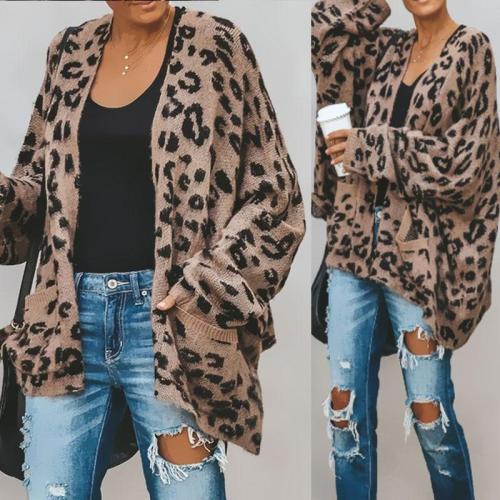 Collarless  Slit Pocket  Leopard Cardigans
