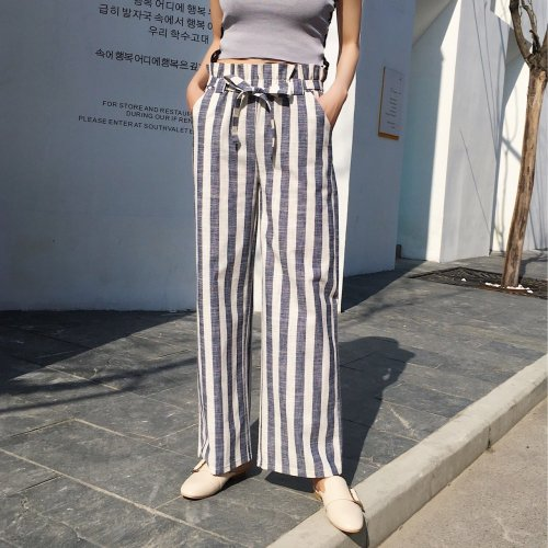 Stripe High Waist Loose Wide Leg Pants