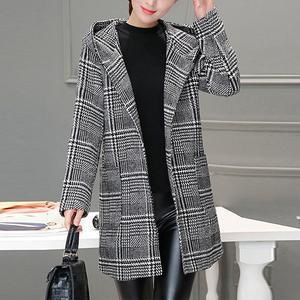Hooded Houndstooth Patch Pocket Woolen Coat