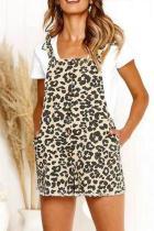 Fashion Leopard Printed Loose Button Embellished Jumpsuit