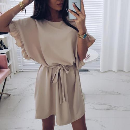 Round Neck Ruffles Sleeves Plain Casual Dresses