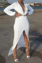 Sexy Deep V Slit Back Hollow Out Maxi Dresses