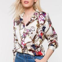 Casual Chains Printed   Colour Long Sleeve Blouse