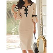 Sweet Heart  Plain  Blend Bodycon Dresses