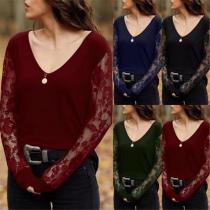 V-Neck Lace Patchwork Long-Sleeved T-Shirt