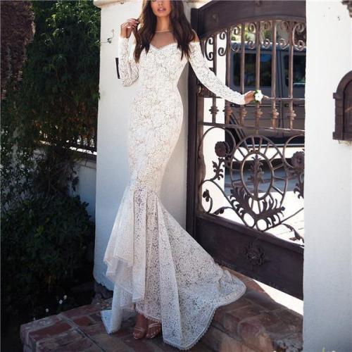 Slim-Fit Lace Fishtail Dress Dress Long Skirt Evening Dress