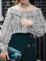 Casual Sexy A Strap   Shoulder Horn Sleeved Striped Shirt