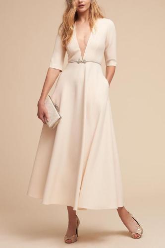 Sexy Elegant Deep V Pocket Skater Dresses