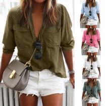 Fashion Lapel Plain Button Pocket Long Sleeve Blouses
