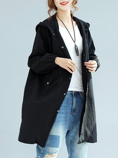 Hooded Plain Raglan Sleeve Trench Coats