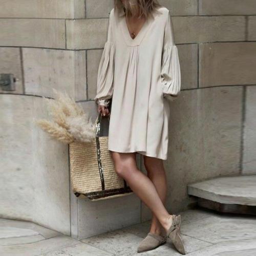V Neck Pleated Lantern Sleeve  Plain Casual Dress