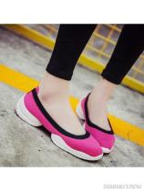 Color Block Flat Elastic Round Toe Casual Sneakers