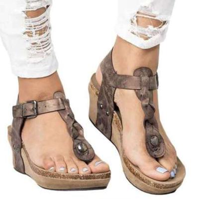 Plus Size Thong Platform Wedge Sandals