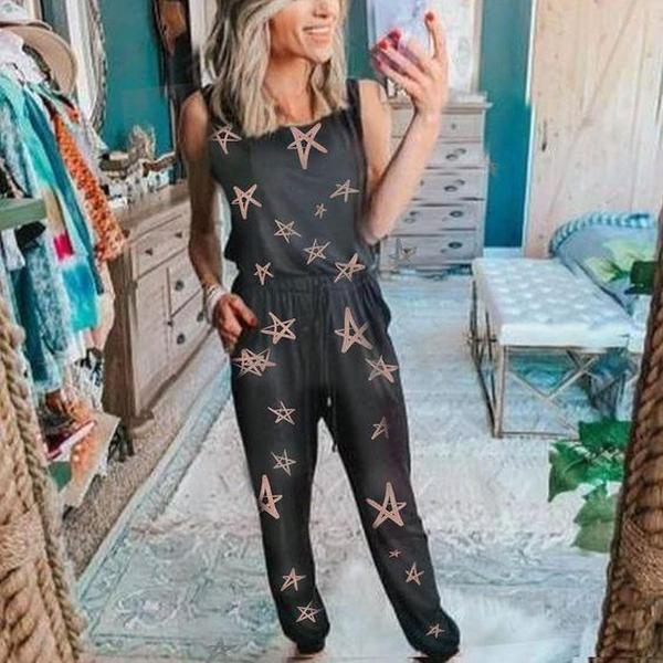 EBUYTIDE Latest Print Square Neck Sleeveless Lounge Jumpsuit