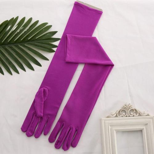 Sposa Fuchsia Satin Pink Glove Long Bridal Gloves Yellow Blue Opera Length Women Dance Party Wedding Gloves Finger Guantes