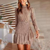Printed Waist Long Sleeve Asymmetric Stitching Mini Dress