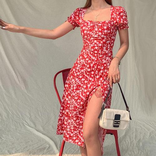 New 2020 Women Summer Vintage Party Dress Lady France Style Puff Sleeve Floral Print Square Collar Side Split Midi Dress Vestido