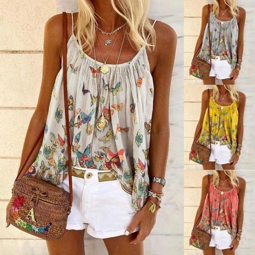 Women's Butterfly Print Shoulder Strap Loose Plus Size Vest T-shirts Tops