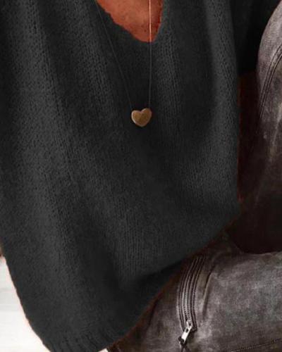 V Neck Solid Knit Top
