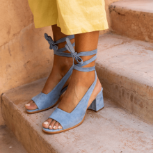 Open Toe Bandage Suede Mid-heel Shoes