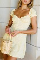 Retro Low-Cut Puff Sleeve Polka Dot Printed Mini Sexy Dress