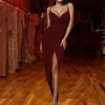 Fashion Sexy V-neck Sling Evening Dress