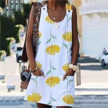 Fashion Printed Vest Mini Dresses