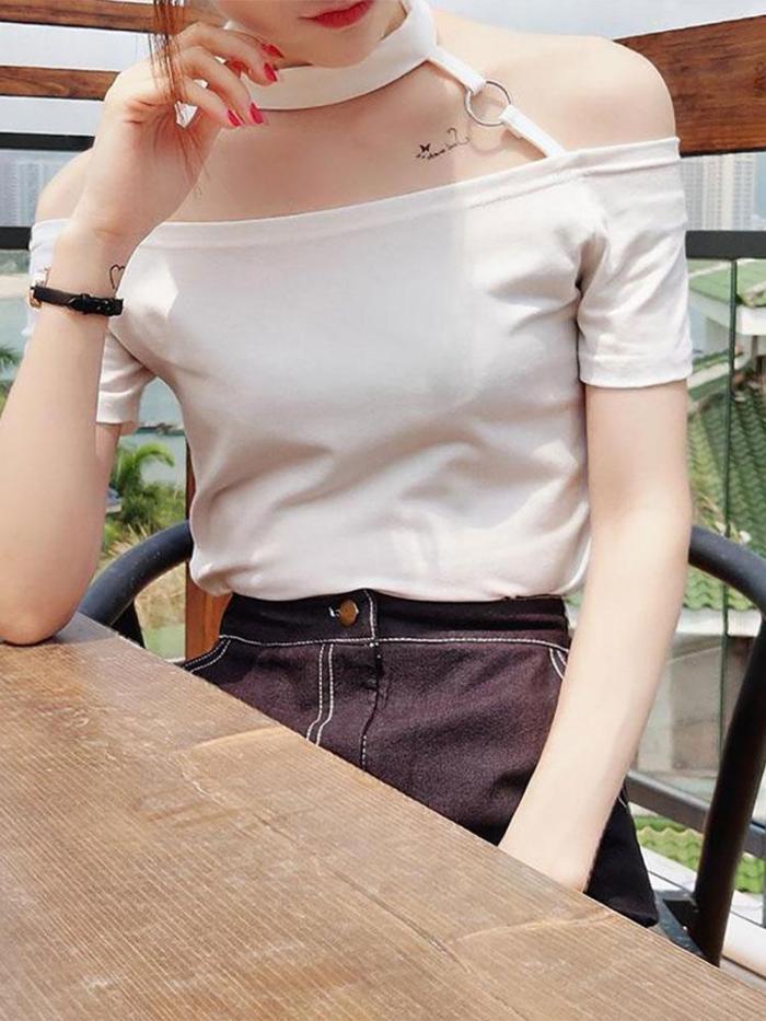 Elegant Halter Pure Colour Off-Shoulder T-Shirt