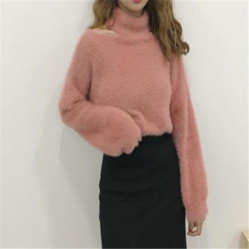 Sweet Fashion Fur Thermal Plain Halter Long Sleeve Sweater
