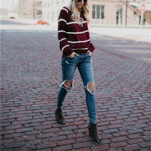 Interlock Striped Circular Collar With Long Sleeves Hollow Sweater