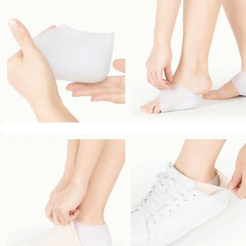 Unisex Invisible Height Increase Socks Heel Pads Silicone Insoles For Foot Massage Solid Color Shoe Insoles For Women Inserts