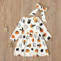 Halloween 2020 Kids Dresses For Girls Toddler Kids Baby Girl Halloween Pumpkin Print Dress Headbands Outfits 6m-5y Gilr Vestidos