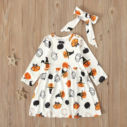 Halloween 2020 Kids Dresses For Girls Toddler Kids Baby Girl Halloween Pumpkin Print Dress Headbands Outfits 6m-5y Gilr Vestidos