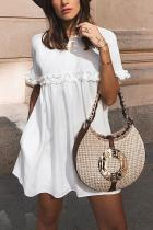 Fashion White Short Sleeves Mini Dress
