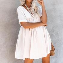 Casual Fashion Loose V-Neck   Dress