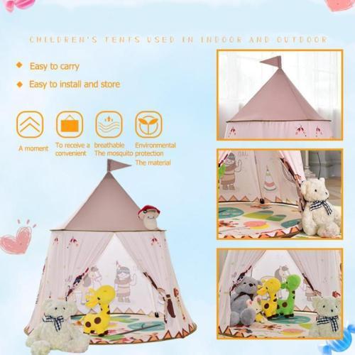 Kid Tent House Portable Princess Castle 123*116cm Present Hang Flag Children Teepee Tent Play Tent Baby Birthday Christmas Gift