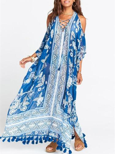 Blue White Printed Loose Plus Size Tasseled Bikini Cover-ups