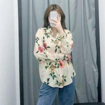 Women Summer Casual Small Fresh Floral Print Lapel Long Sleeve Loose Fashion Shirt Blouse