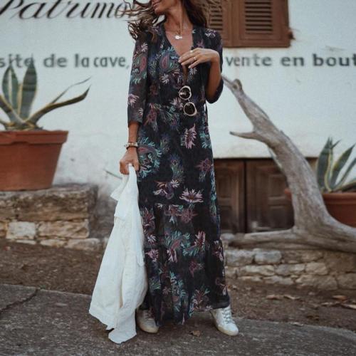 Fashion Pastoral Deep V-neck Three Quarter Sleeve Floral Maxi Print Dress