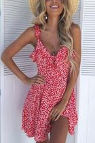 Spaghetti Strap  Backless  Floral Printed  Sleeveless Casual Dresses